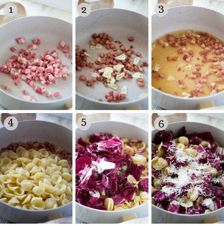 Step by step photos for how to make orecchiette pasta with pancetta and radicchio