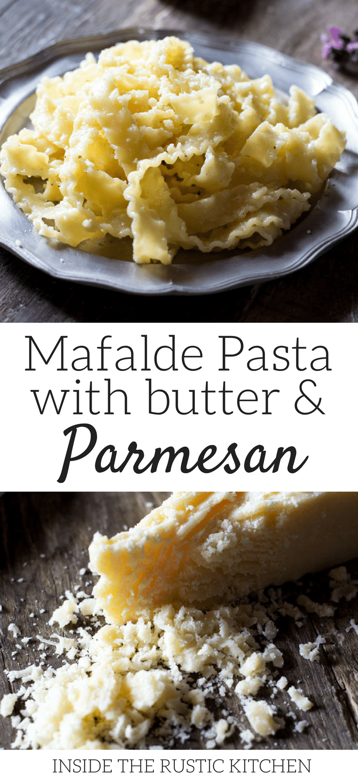 Mafalde pasta with butter and parmesan cheese. This recipe is incredibly easy and is perfect cheesy comfort food. Four ingredient pasta recipe ready in 10 minutes. More authentic Italian recipes at insidetherustickitchen.com