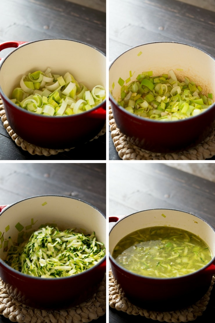Step by step photos on how to make green pea soup