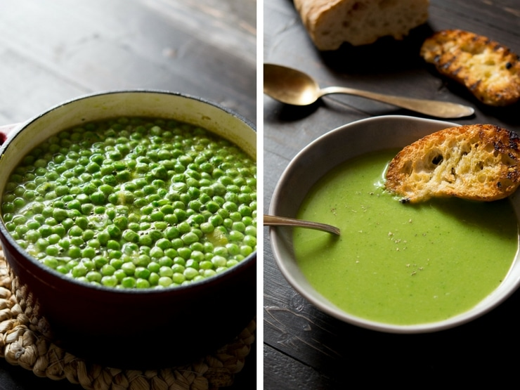 A pot of green pea soup before being blitzed and in a bowl with bread