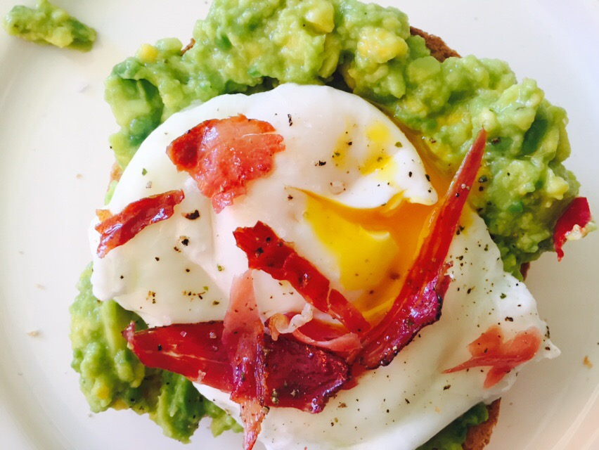 Guacamole poached eggs with crispy speck www.insidetherustickitchen.com
