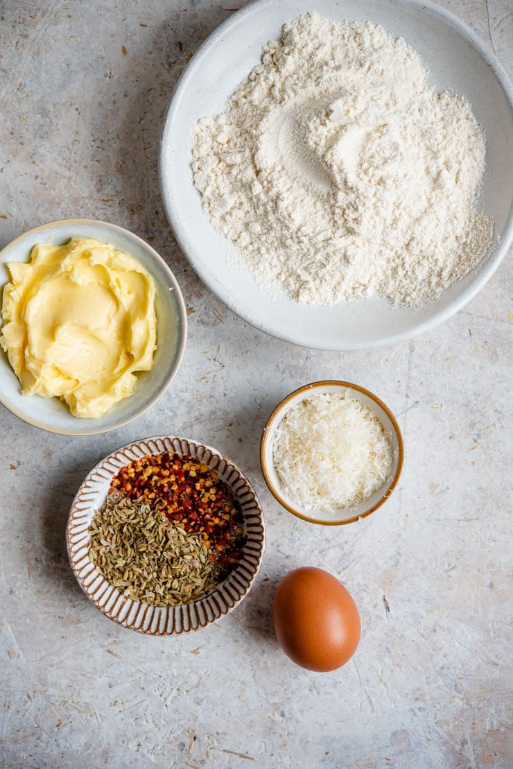 Photo of ingredients you need to make parmesan cheese cookies