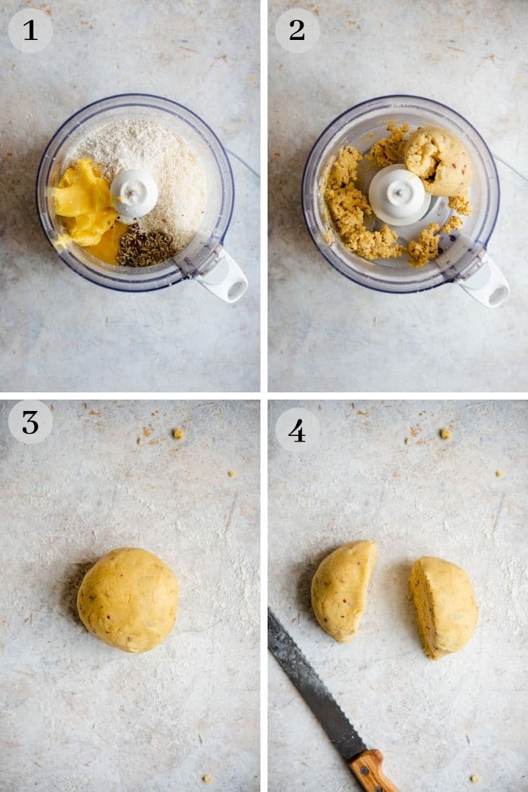 Step by step photos for making parmesan cheese cookies (savoury shortbread)