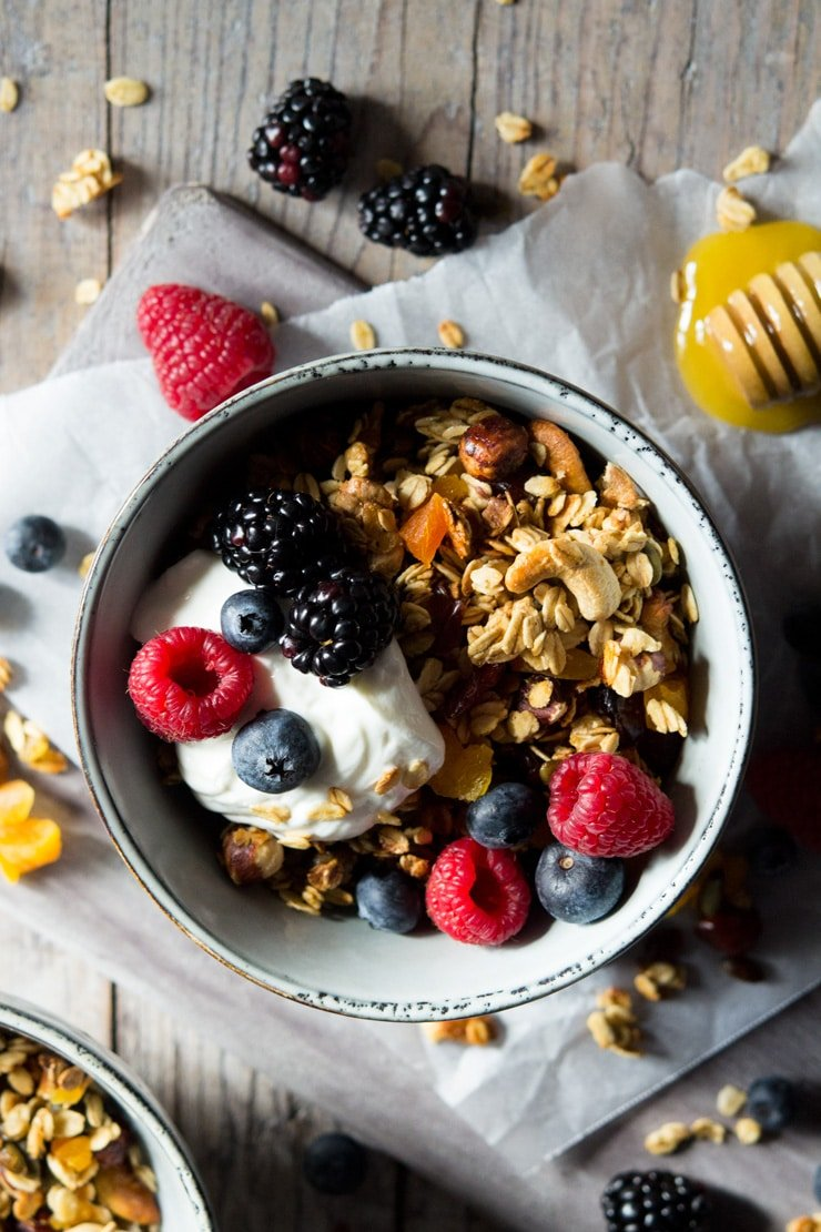 healthy granola on a bowl topped with berries