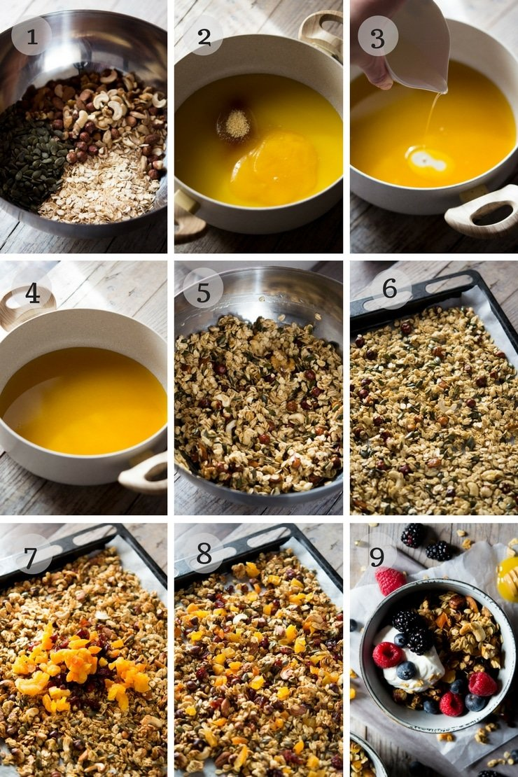 step by step photos for making healthy granola from scratch