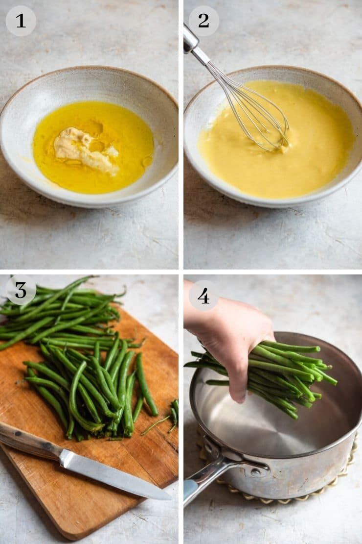 Step by step photos for making a mustard dressing for a green bean salad