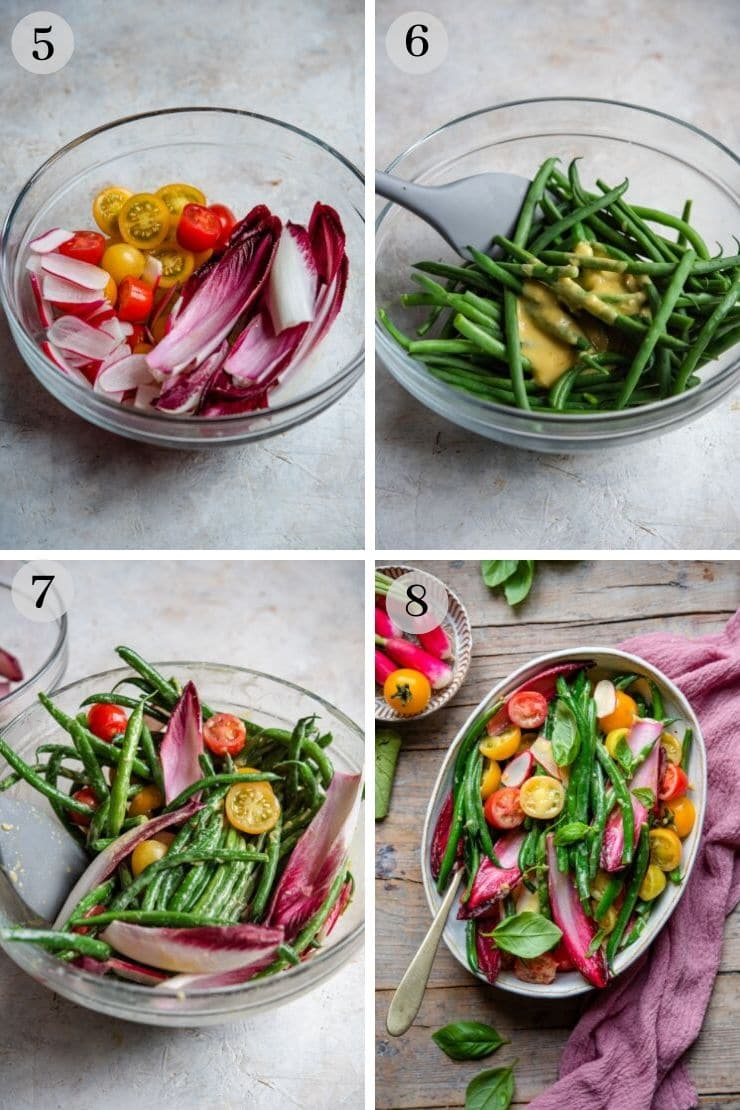 Step by step photos for making a green bean salad