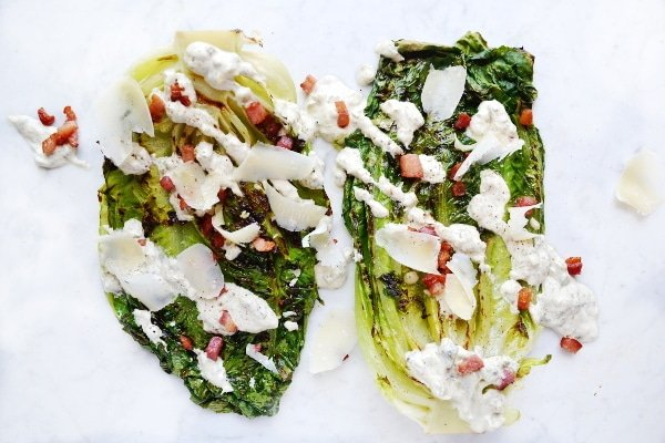 Grilled romaine lettuce with creamy caper dressing www.insidetherustickitchen.com
