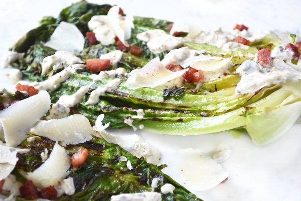 Grilled romaine lettuce with creamy caper dressing 5 www.insidetherustickitchen.com