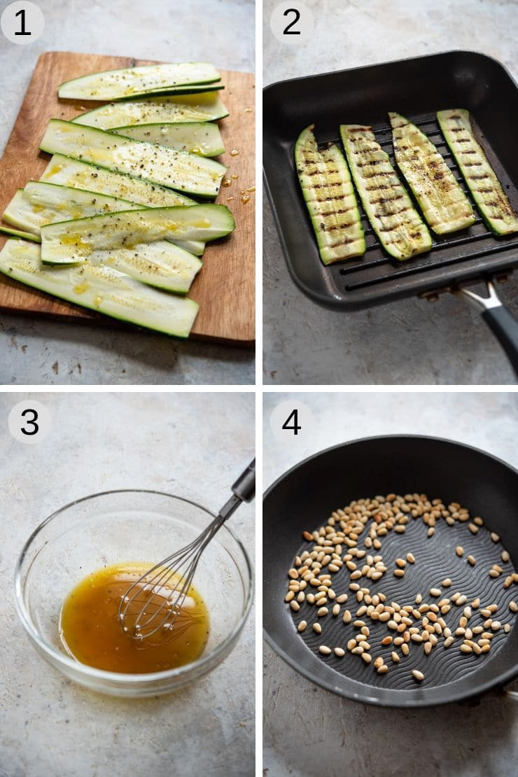 Step by step photos for making a grilled zucchini salad