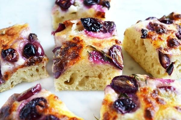 red grape and mozzarella focaccia www.insidethrustickitchen.com