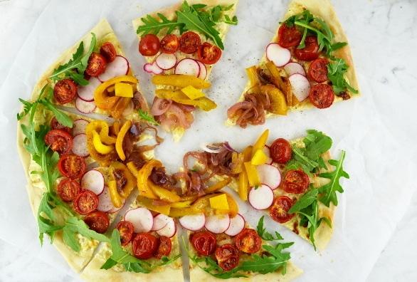 rainbow flatbread pizza 4 www.insidetherustickitchen.com