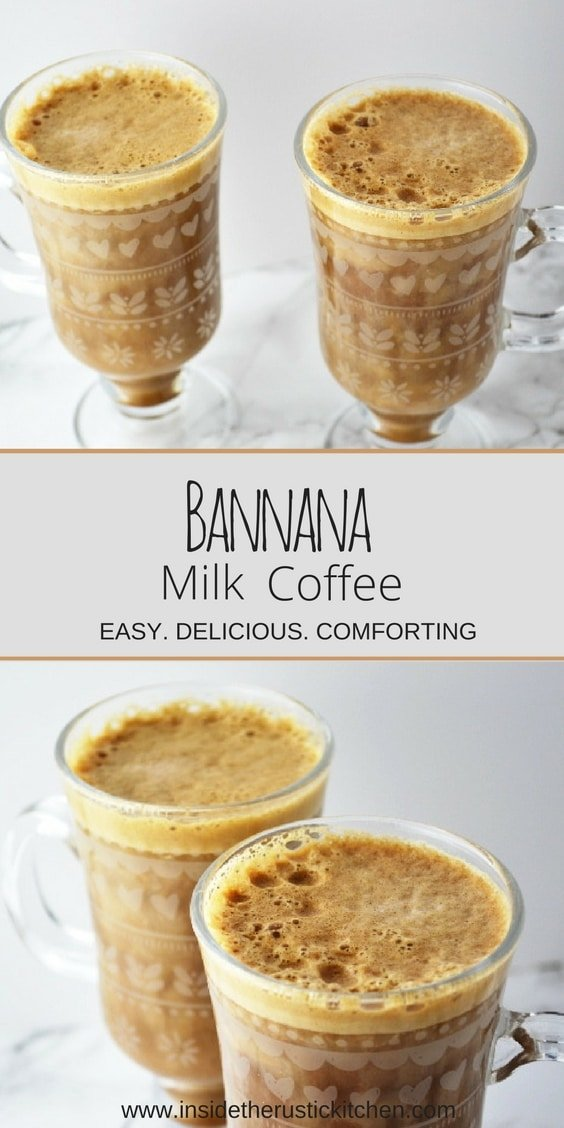 A collage image of banana milk coffee with text