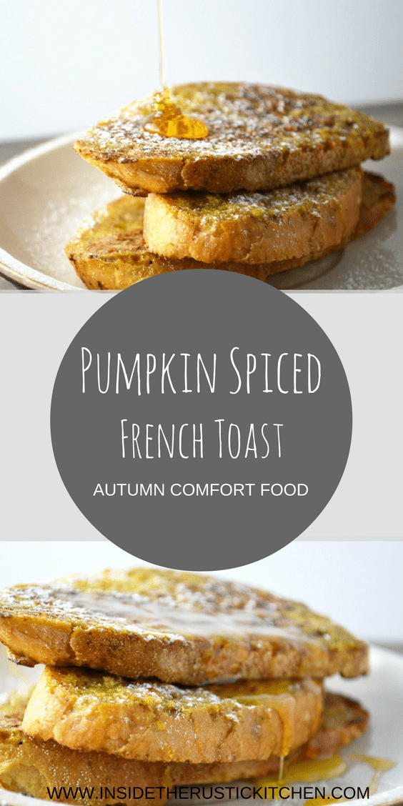 A simple and utterly delicious recipe for pumpkin spiced french toast. It's the perfect Autumn scented lazy brunch.