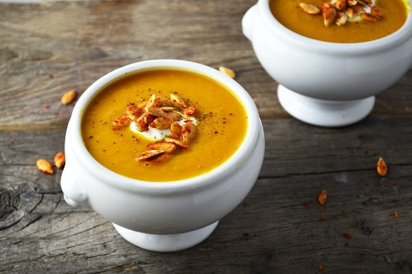 This cinnamon pumpkin soup is the perfect way to cozy up this Autumn. It's sweet and comforting topped with crunchy spicy pumpkin seeds.