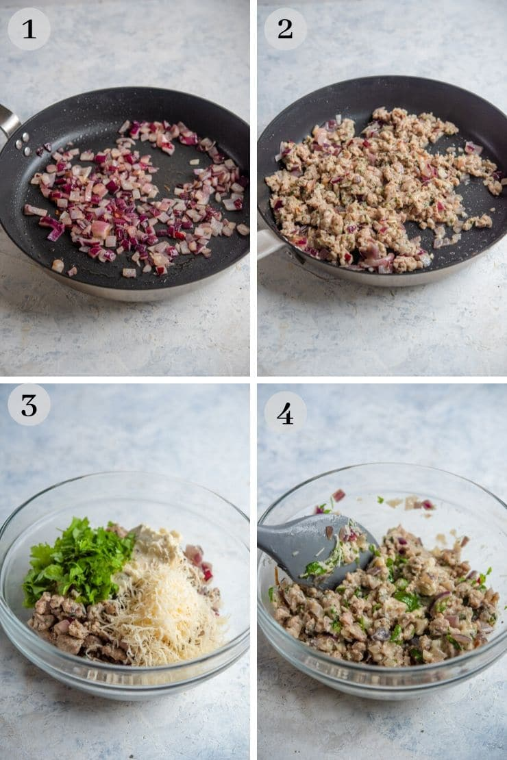 Step by step photos for how to make sausage stuffed mushrooms