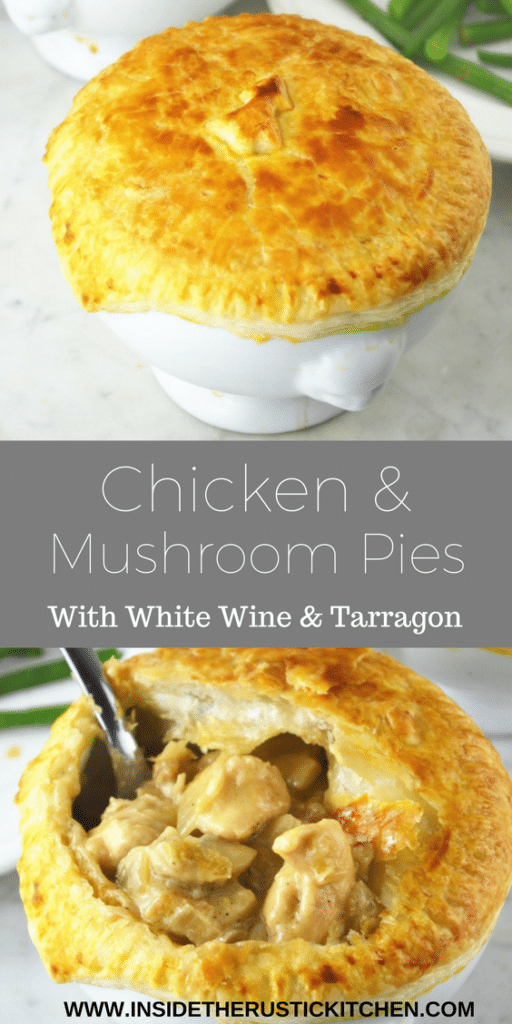 chicken and mushroom pies pin www.insidetherustickitchen.com