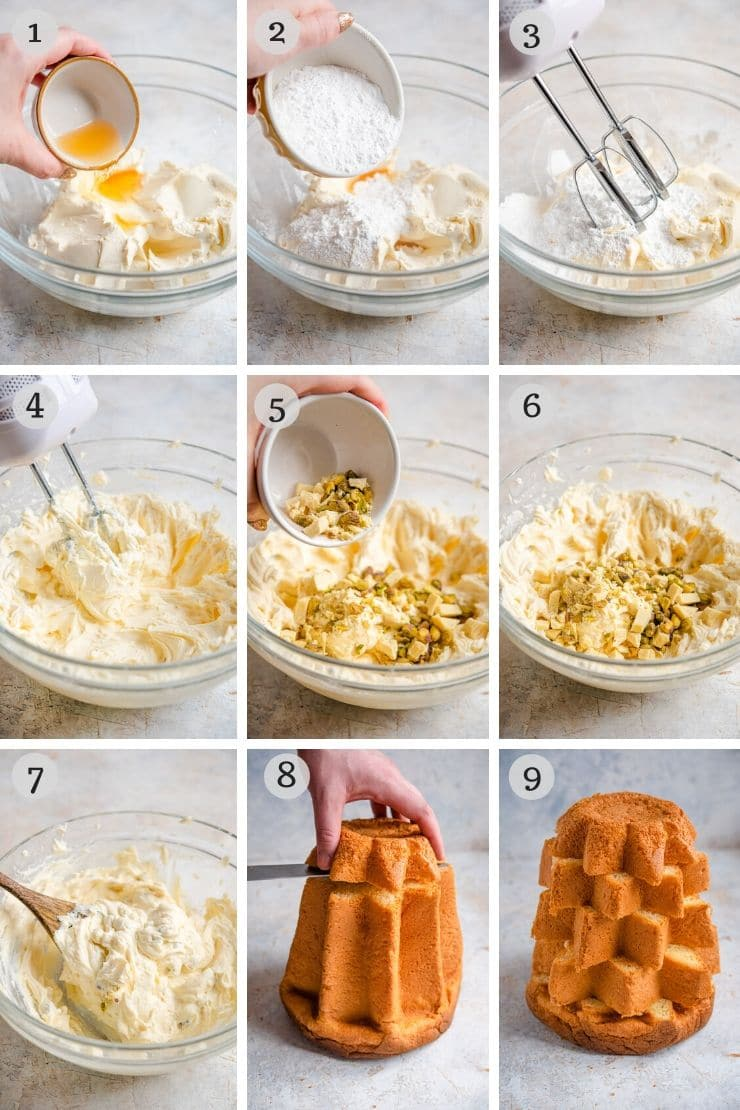 Step by step photos for making a pandoro cake filling