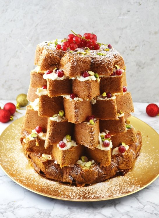 pandoro christmas cake with pistachios white chocolate www.insidetherustickitchen.com
