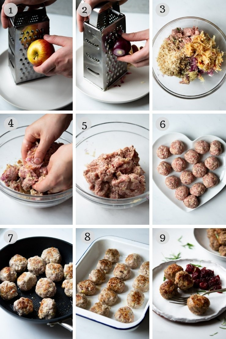 Step by step photos for making sausage stuffing balls