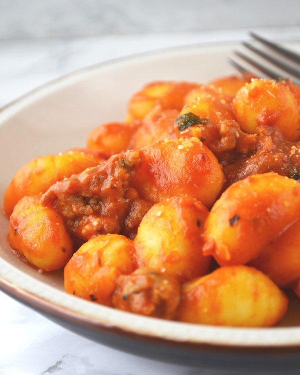Gnocchi with tomato and Nduja www.insidetherustickitchen.com