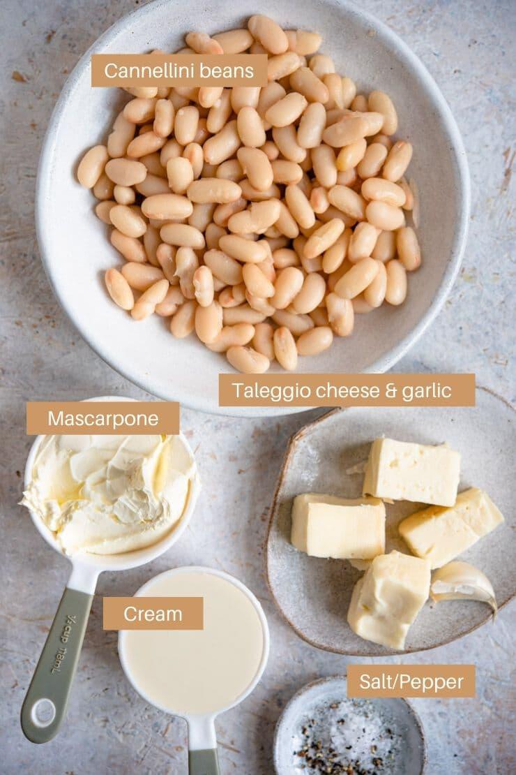 Ingredients for making a white bean dip