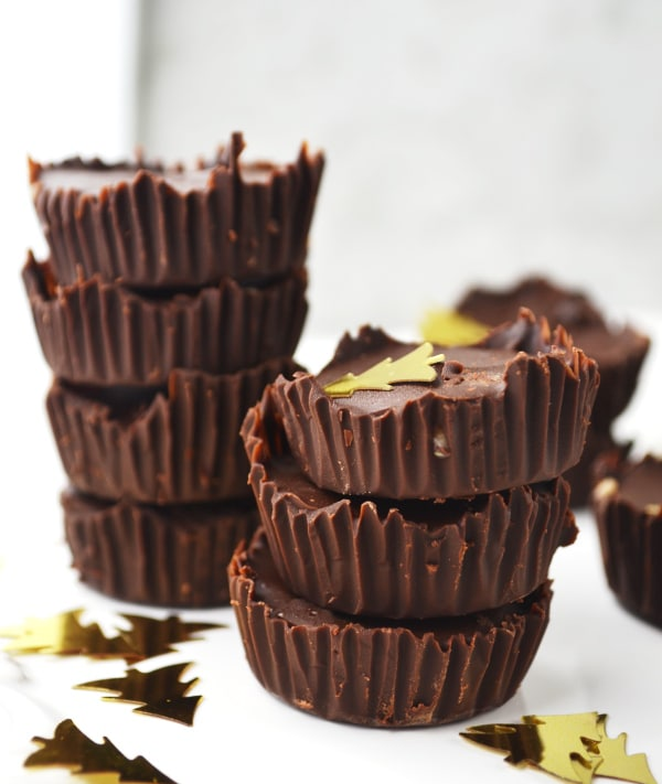 Dark chocolate almond butter cups www.insidetherustickitchen.com