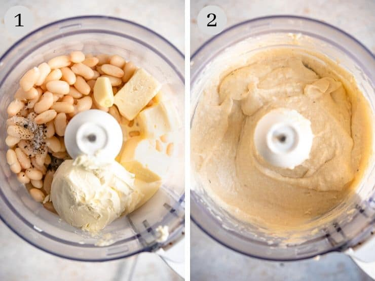 Two process shots showing how to make a white bean dip