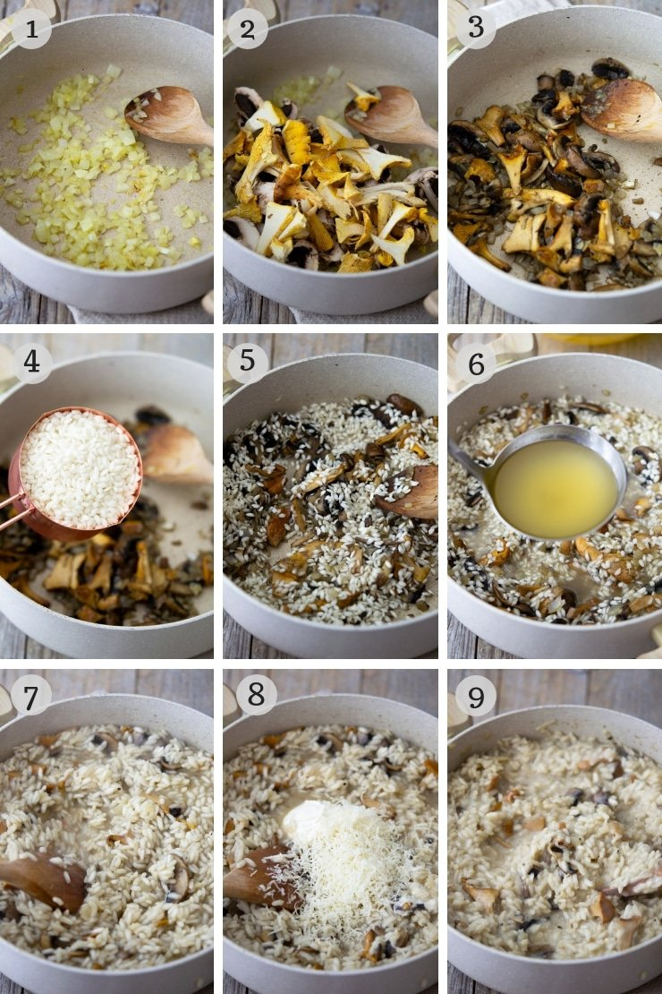 Step by step photos for making creamy mushroom risotto