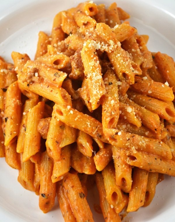 Penne pasta with ricotta,pancetta and tomato sauce www.insidetherustickitchen.com