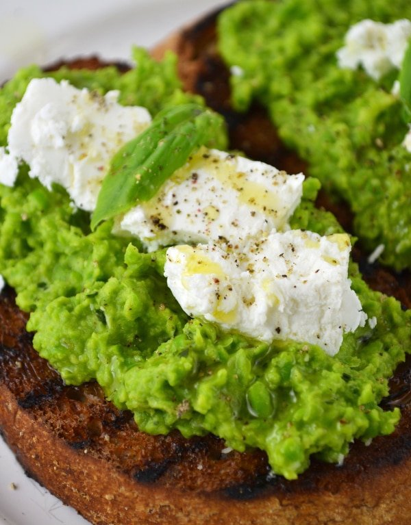 Pea pest and goats' cheese bruschetta www.insidetherustickitchen.com