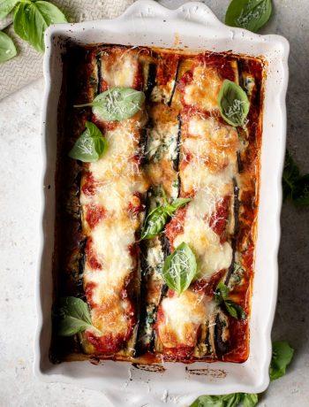 Eggplant rollatini in a baking dish