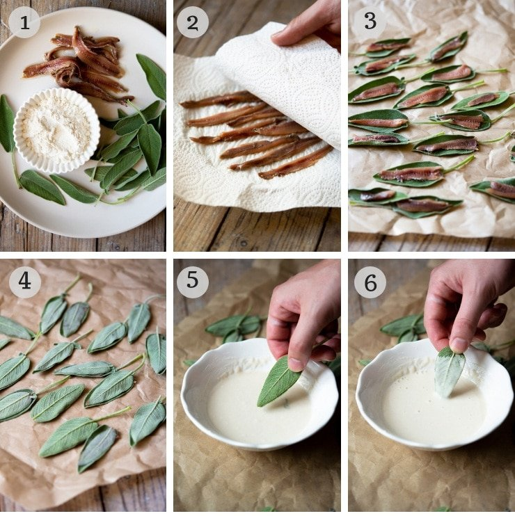 Step by step photos for making fried sage leaves