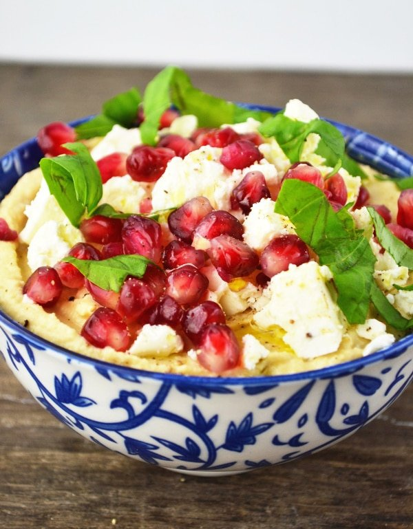 Hummus dip with pomegranate and feta www.insidetherustickitchen.com