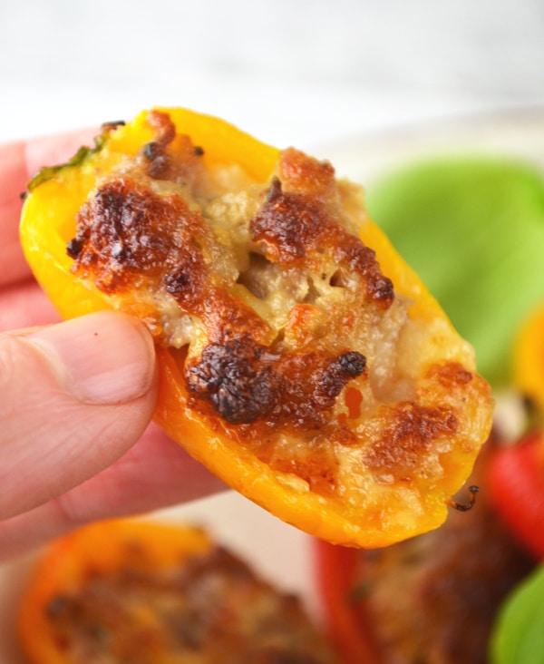 Sausage and Stracchino stuffed sweet mini peppers www.insidetherustickitchen.com