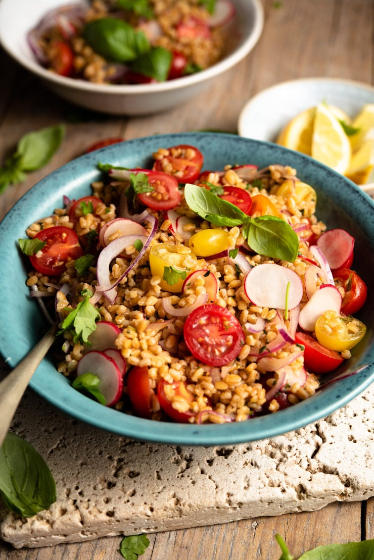 A close up of a farro salad in a blue bowl with basil and cherry tomatoes