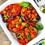 These delicious Italian stuffed peppers are stuffed with anchovies, garlic, basil and cherry tomatoes. A super easy and speedy lunch or dinner that you'll love! www.insidetherustickitchen.com