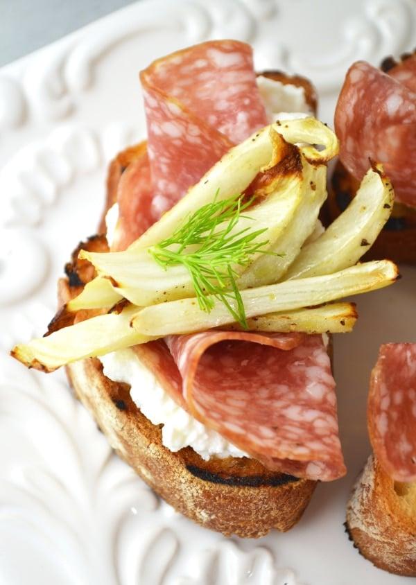 Roasted fennel, salami and ricotta crostini www.insidetherustickitchen.com