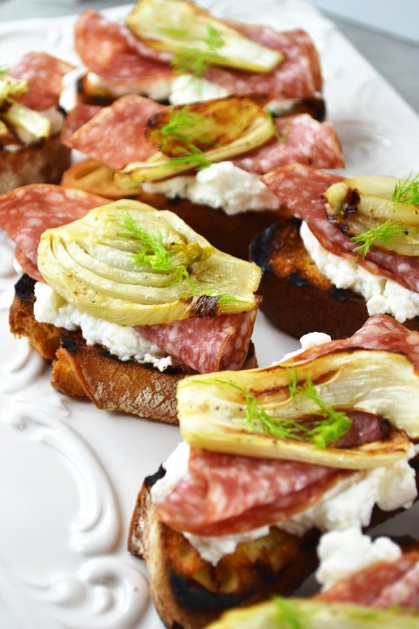 Roasted fennel, salami and ricotta crostini www.insidetherustickitchen.com
