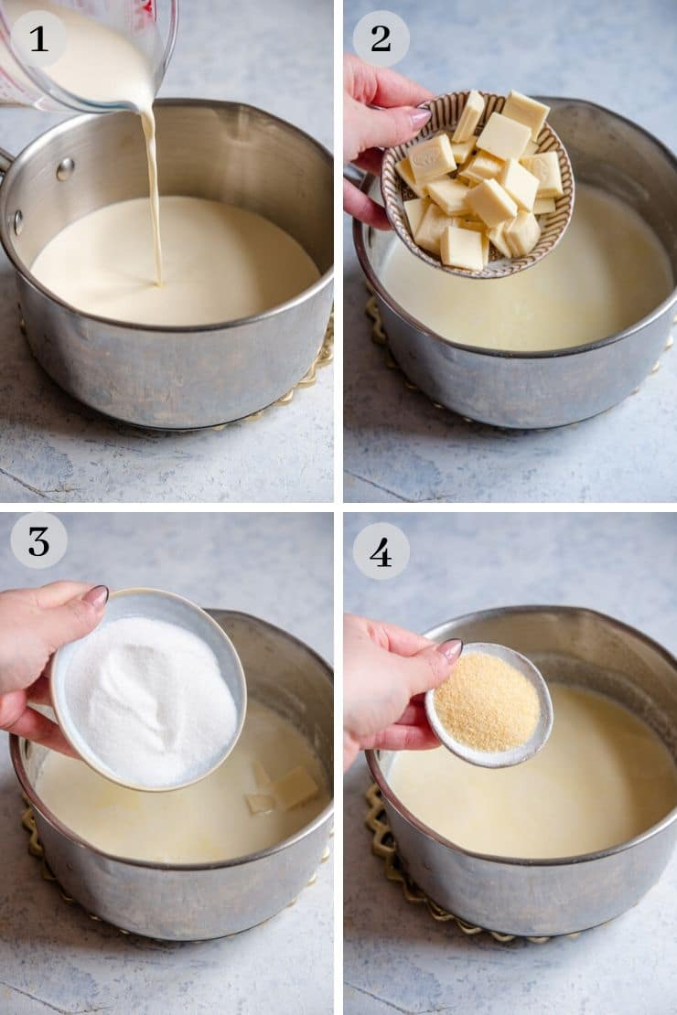 Step by step photos showing how to make white chocolate panna cotta