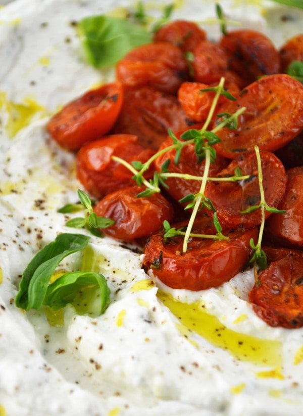 whipped ricotta dip with thyme roasted tomatoes www.insidetherustickitchen.com