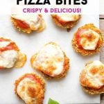 A pinterest graphic for zucchini pizza bites