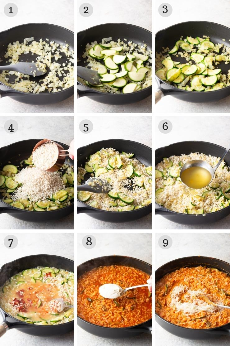 Step by step photos for making creamy tomato risotto