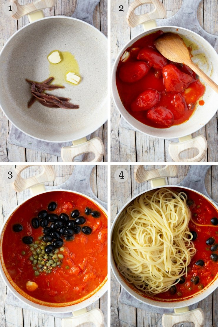 Step by step photos for making spaghetti with puttanesca sauce