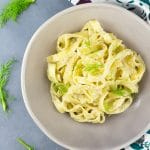 A delicious creamy roasted fennel pasta made with a comforting, creamy, garlic fennel sauce and tossed through delicious fettuccine pasta. Insidetherustikitchen.com