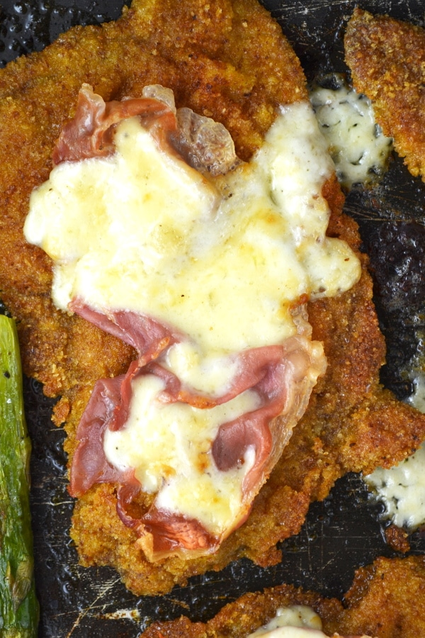 Veal cutlets with prosciutto and parmesan cream insidetherustickitchen.com