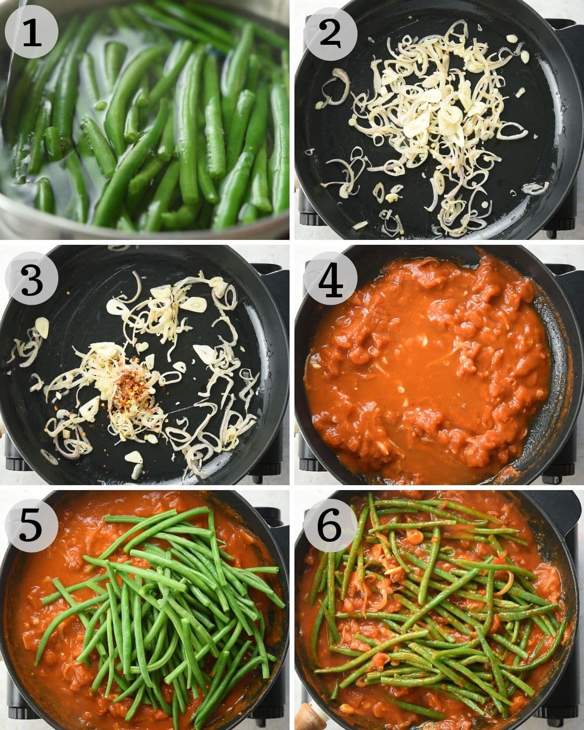 Step by step photos for making Italian green beans
