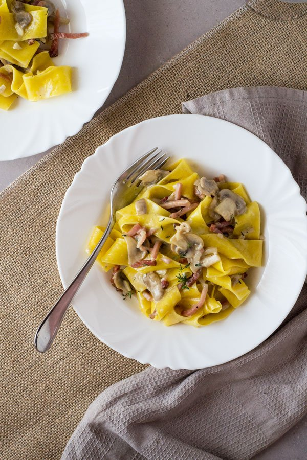 Speck and Mushroom Pappardelle www.insidetherustickitchen.com