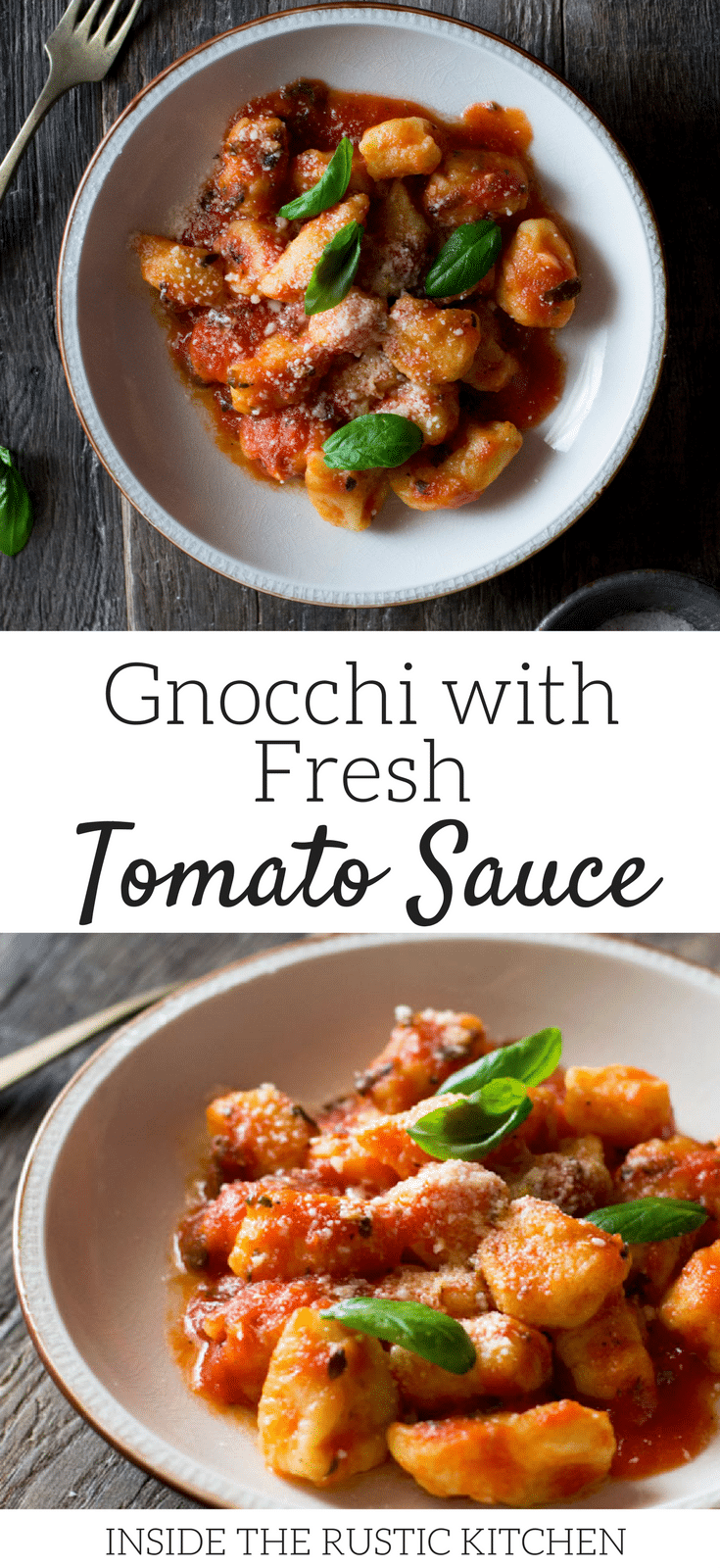 Light and soft gnocchi with tomato recipe sauce made with ripe, fresh tomatoes, oregano and garlic. Extremely simple and easy to make, a great authentic Italian tomato sauce recipe that's great with pasta and gnocchi. For more authentic Italian recipes visit Inside The Rustic Kitchen