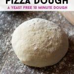 A pinterest graphic for instant pizza dough